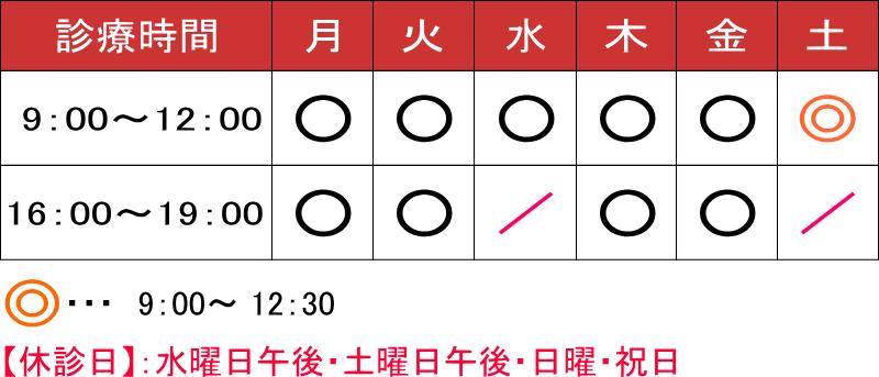 ふくおか耳鼻咽喉科(愛知県東海市)の診療時間